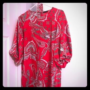Silk red/black paisley above the knee dress